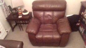 Lazy boy brown leather armchair