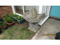 garden ornament can be used as a water fountain solid plastic so can be moved.