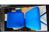 OFFICE CHAIR ON CASTERS. ROYAL BLUE. WITH HEIGHT ADJUSTER AND BACK ADJUSTER IN GOOD CONDITION