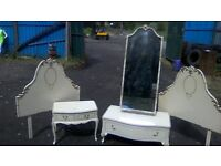 Stunning vintage French bedroom furniture set/cabinet/cheval mirror/headboards