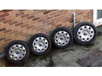 "VW Bora / Golf / Passat etc 5 stud 15"" steel wheels and trims"