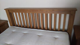 Solid Hardwood oak King size bed including memory foam mattress very little use great condition