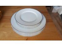John Lewis white platinum rimmed plates X4 20cm & X4 27cm - Wedgwood style plates