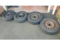 2 SET OF PEUGEOT/CITROEN STEEL RIMS WITH TYRES £40 EACH