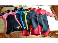 SELECTION OF CHILDRENS WET SUITS FOR SALE
