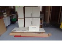 7 x Kitchen Units Cream and Light Oak Shaker Style, Good Condition, Oven, Fridge Freezer Housing