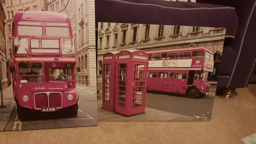 Two grey and purple London canvasses