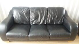 3 seater black leather sofa in Southsea