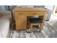 Solid heavy Oak desk or dressing table with stool