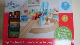 Train track set. Suit age 3+, wooden style