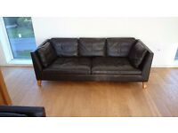 2 matching dark brown leather sofas modern style in good condition (large size 211w x 88d)