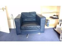 blue leather sofa / couch
