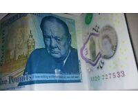 5 pounds note serial number AA20