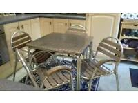 Aluminum square table and chairs