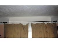 "Solid Dark Wood Curtain Pole 10' 5"" (125"") (3.8m)"