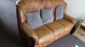 Leather 3-Piece Suite - FREE - Tan- Really comfortable.