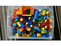 Large box of lego duplo including small track
