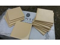 Ceramic wall tiles yellowish-cream colour, 10 x10cm including edge and corner tiles