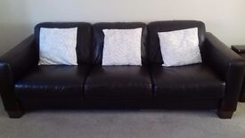 Leather sofa 3 seater 3ft wide 7ft long from a smoke and pet free home