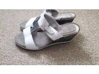 SCHOLL white wedge sandals, size 5