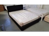 NEW JOHN LEWIS BLACK LEATHER KING SIZE SIZE BED & DEUXE SEMI ORTHOPAEDIC MATTRESS ONLY £325 Can/Del