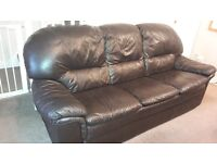 Dark Brown Leather 3 seater sofa and 2 chairs (can deliver free of charge locally).