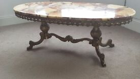 Composite marble on ornate metal base frame occasional table