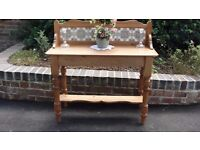victorian/edwardian pine wash stand with tiled back