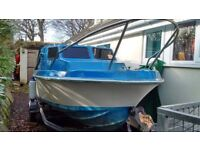 17ft Fishing boat / cabin cruiser with 15HP outboard and trailer