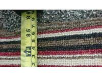 Striped carpet - brown / red / cream and black - 7ft