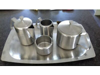 Complete Stainless Steel Tea Set. With Tray. Excellent condition.