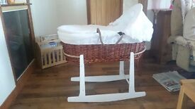 Babys wicker moses basket in excellent condition