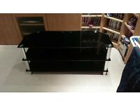 "Black Glass TV Stand for up to 55"" TV - Great condition, no scratches!"