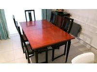 Extendable dining table and 6 chairs