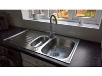 Chrome Monoblock Tap and Stainless Steel Sink (selling together or separate)