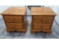 Pair of solid pine bedside chests of drawers