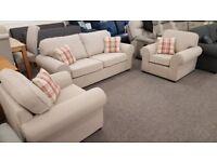 Designer Taupe Fabric 3 Seater Sofa & 2x Armchairs