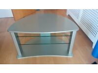 TV stand glass and silver