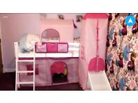 Girls mid sleeper cabin bed with slide and tents