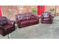 Oxblood Leather suite Three seater sofa and two single chairs