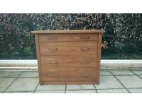 Walnut effect 4 drawer chest of drawers