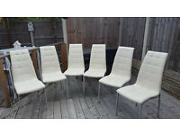 6 CREAM FAUX LEATHER DINING CHAIRS
