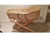 Wicker moses basket with mattress and stand