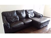 Three piece corner Italian leather sofa set
