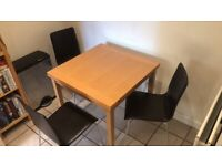 Modern extendable dining table and chairs