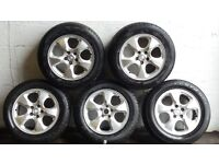 Jaguar alloys and tyres set of 5