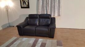 Ex-display Italian Sean brown leather electric recliner 2 seater sofa