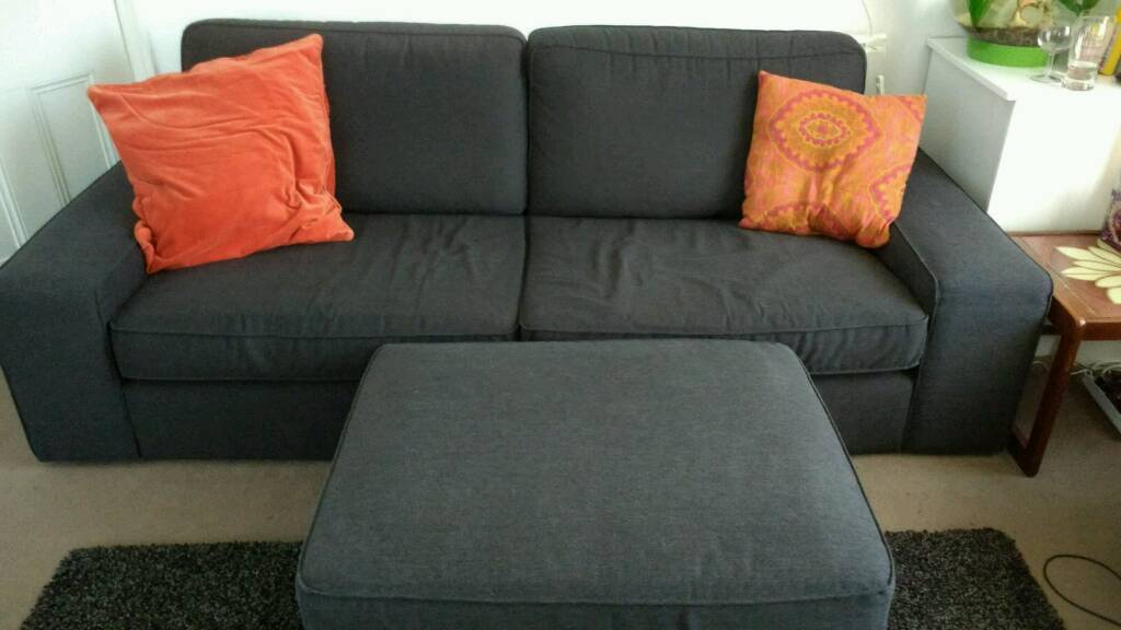 Ikea kivik 3 seater sofa storage footstool in sale for Sofa kivik 3 plazas
