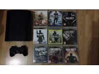 Sony PS3 superslim + 9 Call of Duty games.