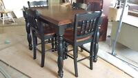 Black wood Pub style table and 4 chairs